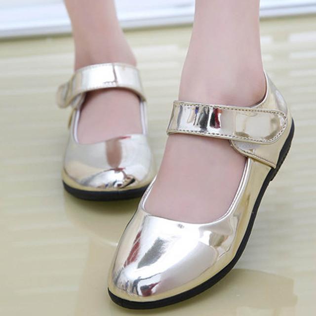 2017 nova shinny girls party shoes com tira no tornozelo de moda crianças shoes baixo salto couro crianças meninas sapatos shoes ouro Ninas