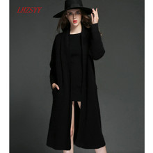 Mink cashmere Coat Girls long sweater coat solid color Slim thick knit Cardigan middle-aged ladies New winter
