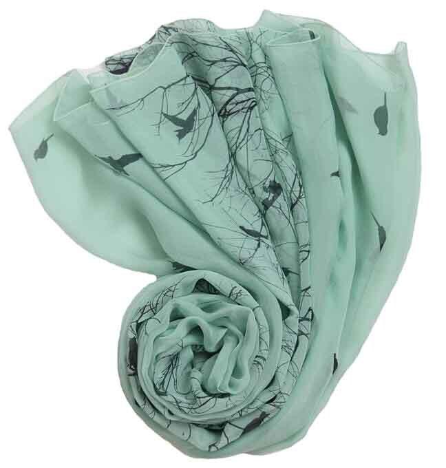 100% Pur Soie imprimé carré de soie écharpe musulmane oiseau vert arbre rond serviette de plage châle écharpe pour femmes d'été femmes foulards