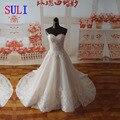 Sf1129 Real amostra A - linha vestido de noiva querida decote Applique largas Hemline vestidos de casamento
