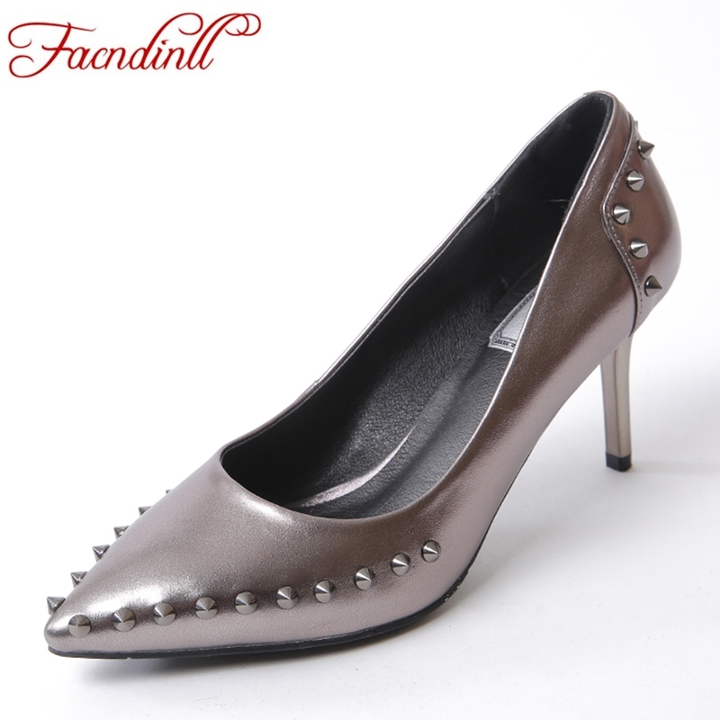 FACNDINLL new fashion genuine leather women pumps thin high heels pointed toe sexy shoes woman dress party office shoes size 39 bowknot pointed toe women pumps flock leather woman thin high heels wedding shoes 2017 new fashion shoes plus size 41 42