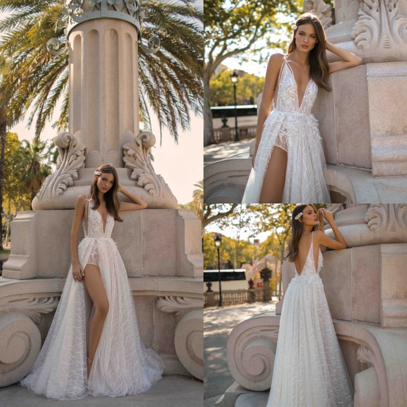 2019 A Line Wedding Dresses Sexy V Neck High Side Split Backless Lace Beach Bridal Gowns Tulle Wedding Dress Vestido De Novia