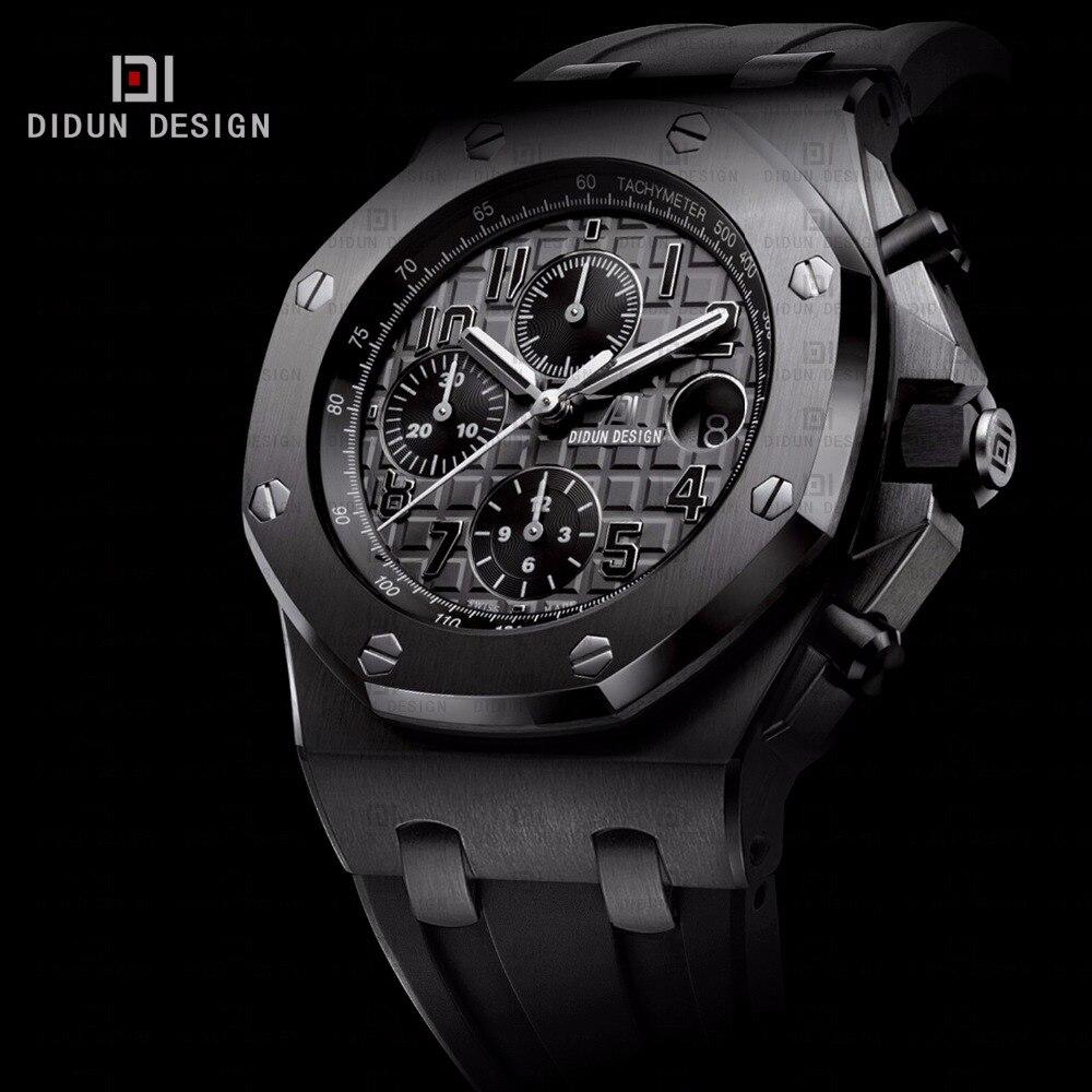 didun мужчины часы лучший бренд полунавесной люкс часы мужчины стали кварцевые часы военно-спортивный часы серебряный наручные часы 50 м водонепроницаемый