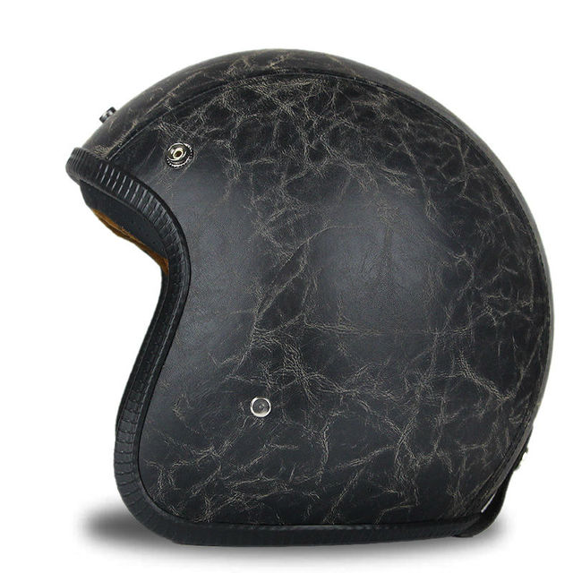 Black Adult  Open Face Half Leather Helmet  Harley   Moto  Motorcycle  Helmet vintage Motorcycle Motorbike Vespa