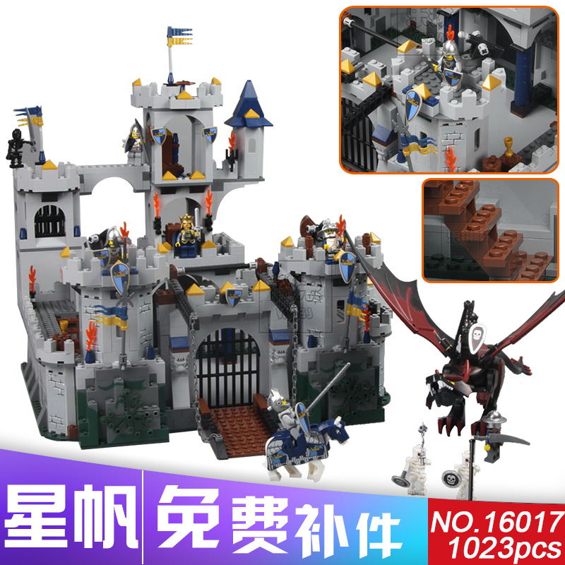 2017 New Lepin 16017 1023Pcs Movie Series King Castle Battle Siege Set Building Block Toys Compatible with Lepin City 7094 lepin 16017 castle series genuine the king s castle siege set children building blocks bricks educational toys model gifts