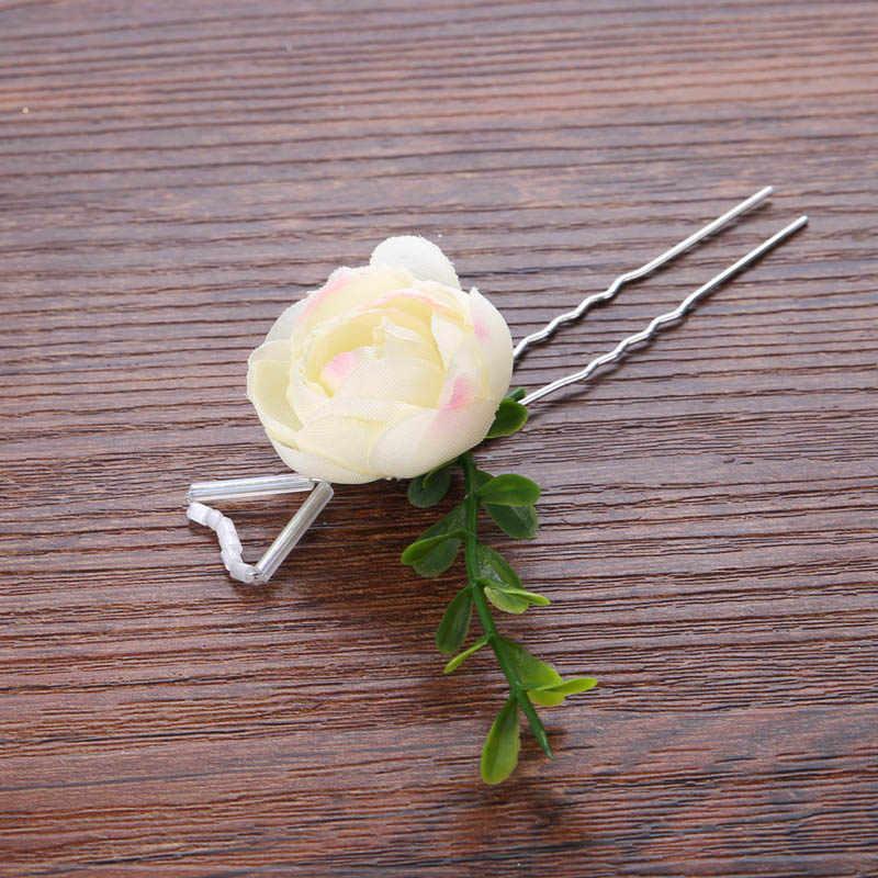 Cinta para el pelo de la frente de la flor de la chica romántica palos y pendientes de pelo de la dama de honor niños diadema guirnalda de pelo joyas con forma de corona Set JL