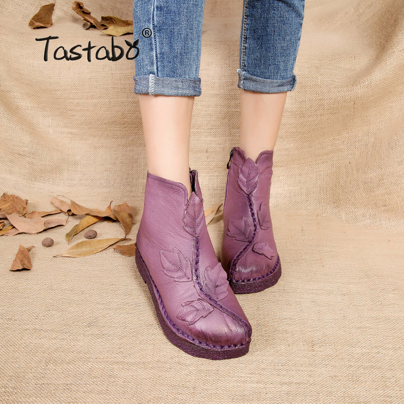 Tastabo 2017 Women Winter Ankle Boots Handmade Velvet Flat With Boots Shoe Folk Style Comfortable Casual Shoe Women Snow Boots tastabo handmade ankle boots martin flat boots 100% real genuine leather shoes retro winter snow boots botines mujer women shoe