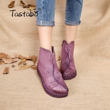 Tastabo font b 2017 b font Women Winter Ankle Boots Handmade Velvet Flat With Boots Shoe