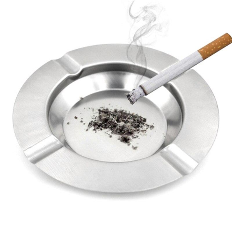 Fashion New Portable Home Metal Ashtray Round Ashtray Square Large Capacity Cigarette Ash Tray Push Down Smoking