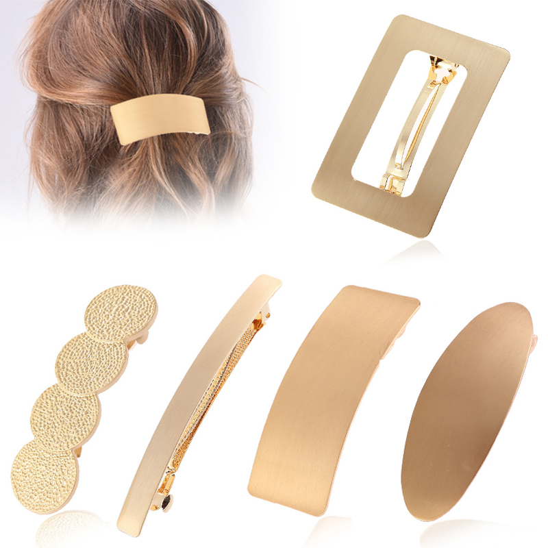 Fashion Hollow Out Oval Wide Large Hair Clips Unique Simple Golden Ponytail Holder Round 1PC Big Circle Hair Accessories Gifts