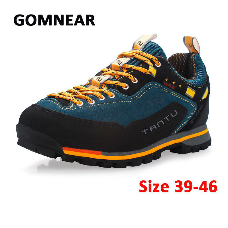 ФОТО GOMNEAR 2017 Man Waterproof Breathable Hiking Shoes Big Size Outdoor Boots Trekking Sport Sneakers Men Hunting Climbing Shoes