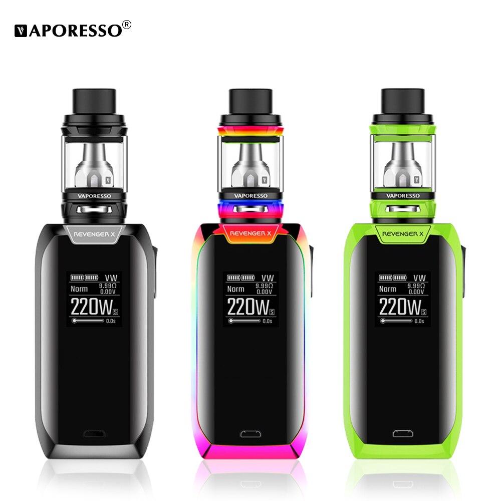 Vaporesso Vengeur X Kit 220 W Cigarette Électronique Mod 2 ml 5 ml NRG réservoir Vaporisateur Kit Support Bobine GT4 GT8 Atomiseur avec Bouton Tactile