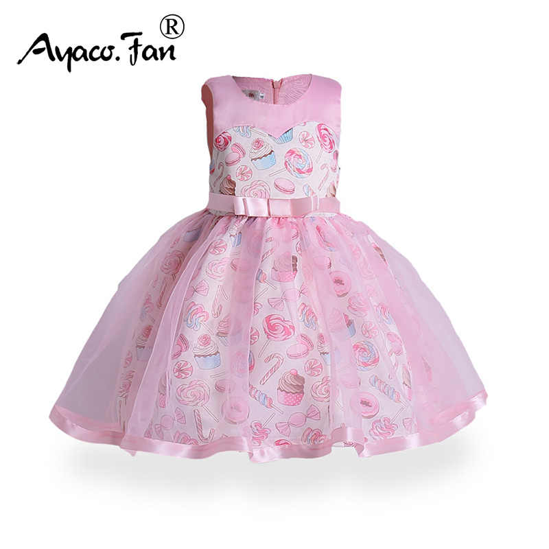 06589ea7c7001 Kids Dress 2019 Summer Mesh Sleeveless Bow Sundress Cute Candy Ice ...