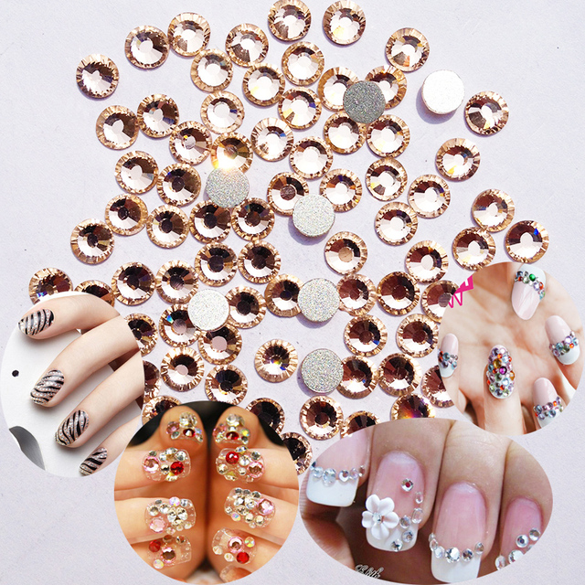 Light Peach Color SS3 to SS30 DIY Flat Back Nail Art Stones Glue On ...