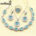 XUTAAYI Stunning Alluring Blue Created Topaz 4PCS Jewelry Set 925 Sterling Silver Earrings Ring Necklace Pendant Bracelet