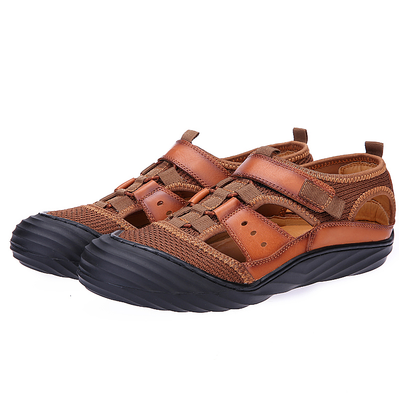 Mens sprot Hiking Sandals Men Breathable Fisherman canvas cow leather Sandals men Soft Breathable Casual Shoe Walking Footwear
