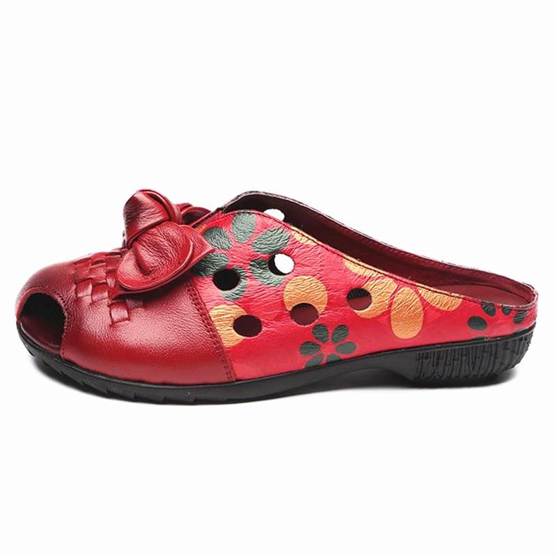 Femme Talon Souple Ouvert Abedake Sandales Bout Vent D'été Cuir Plat 2091 Pantoufles Handmake 2018 Marque Femelle National Red En À fnq5A