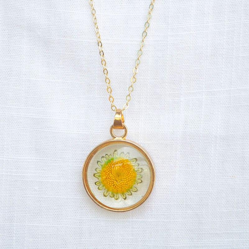 Flutuante Medalhão Pingente de girassol Helianthus Flor Real Transparente da Cor do Ouro de Cadeia Longa Colar Mulheres Moda Boho Jóias
