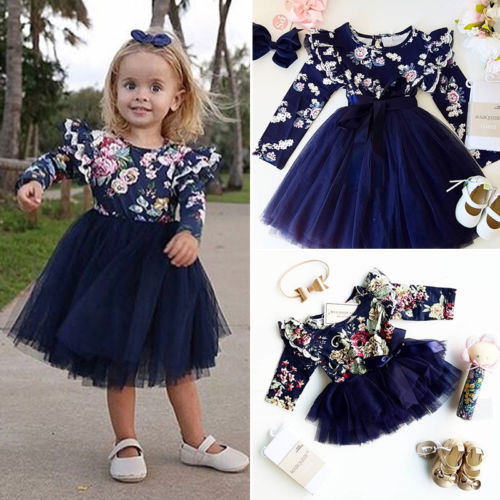 foto de New Big/Little Sister Matching Navy Floral Tutu Dress Long
