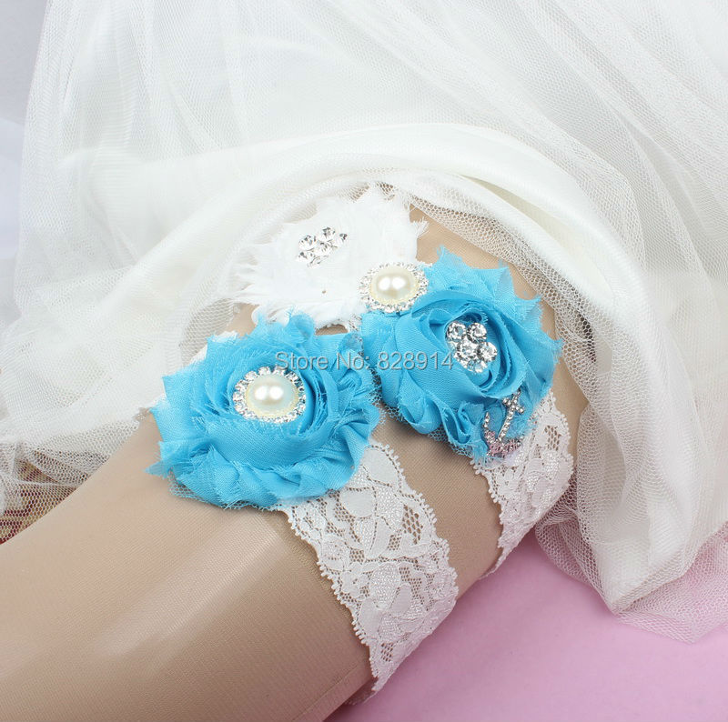 New Design Lace Trim White and Blue Color Shabby Flower Wedding Garter for Bridal Garter made