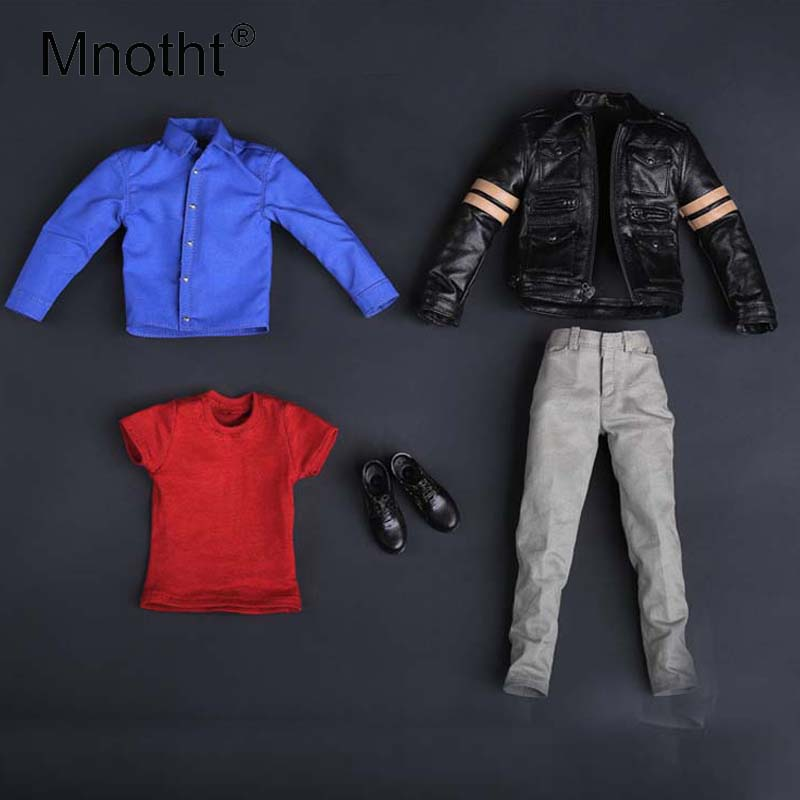 Mnotht 1/6 Scale Resident Evil 6 Leon Leather suit Male Soldier Suit Clothes Collections For 12in Action Figure Male Body Toys klaus h carl shoes