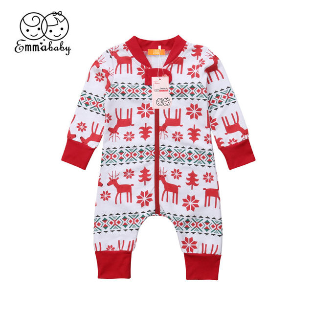 de77a67e7509 Christmas Newborn Baby Boys Girls Romper Long Sleeve Deer Zipper Cotton Romper  Jumpsuit Infant Toddler Kid Pajama Outfit Clothes