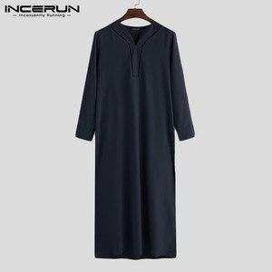Image 4 - INCERUN, caftán islámico árabe, ropa musulmana para hombres, Túnica holgada de manga larga con cuello en V para hombres, Túnica Abaya Jubba Thobe de Arabia Saudita 2020