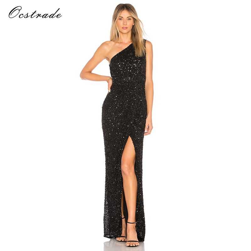 b332640863bc2 Ocstrade New Year Dress Woman 2018 Sexy High Split Black Sleeveless Sequin  Maxi Dresses Party Vestidos