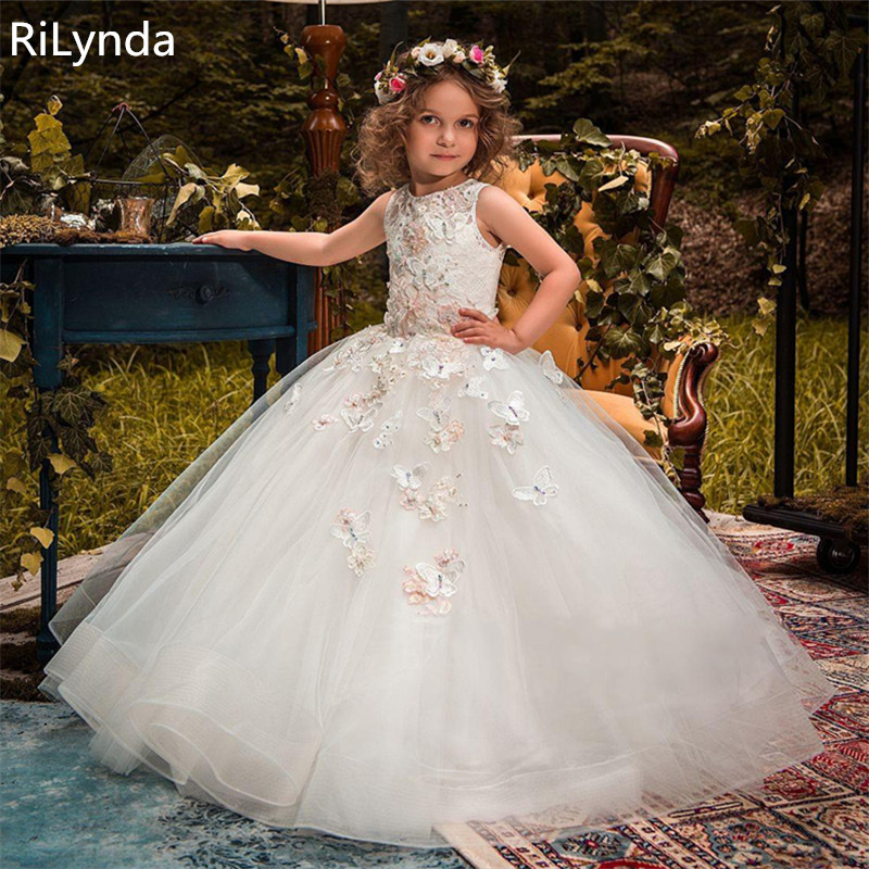 NEW Flower Girl Dresses For Weddings Princess Ball Gown Tutu Lace Beads Butterflies Kids First Communion Gowns