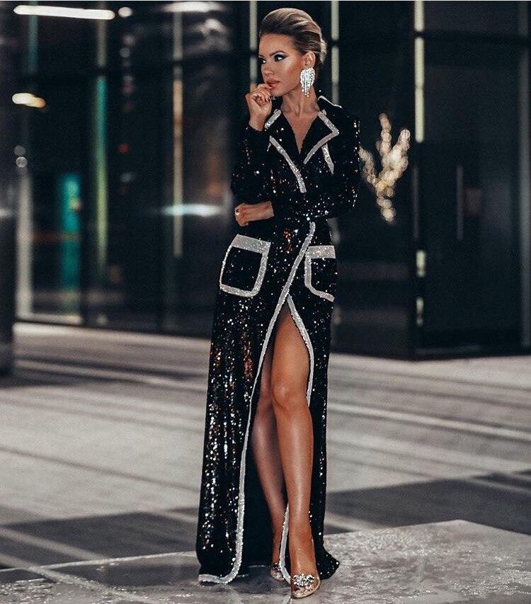Manches De Sexy Date 2019 À Luxe Femmes Longues Élégant Designer Paillettes Long Parti Robe wIRwqda
