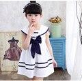 2017 Европейский большой лук короткий полосатый колен сейлор воротник симпатичные принцесса платье детей одежда для девочек платья 4-10 лет