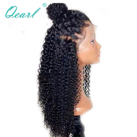 Qearl Malaysian curly Human Hair Wigs Full Lace Wig with Baby Hairs Natural Color Ponytail Wigs Real Remy Hair Pre plucked