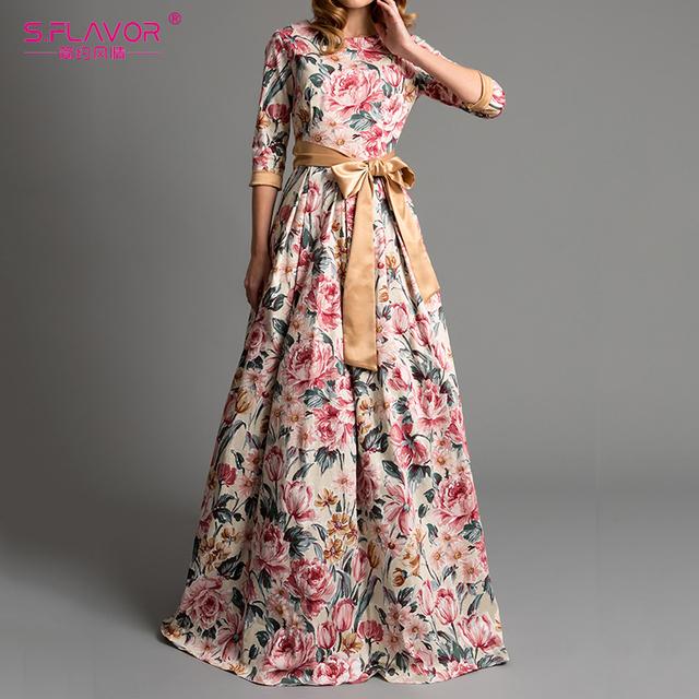 S.FLAVOR Bohemian printing long dress O-neck 3/4 sleeve big hem women Autumn Winter dress elegant casual vestidos de