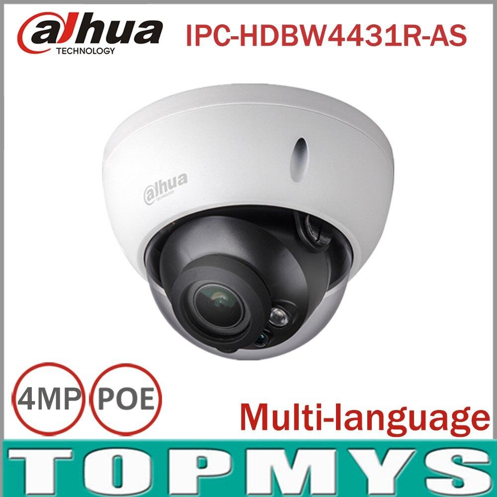 Dahua 4MP CCTV IP Camera IPC-HDBW4431R-AS Support IK10 IP67 Audio&Alarm PoE Camera IR 30M Home secuirty IP Camera SD card Slot ipc 9600 cctv tester ip