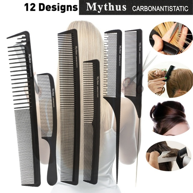 Original Mythus 12 Designs Black Hair Carbon Comb Anti Static Tail Hairdressing Comb Makeup Teasing Comb for Hair Styling Tool