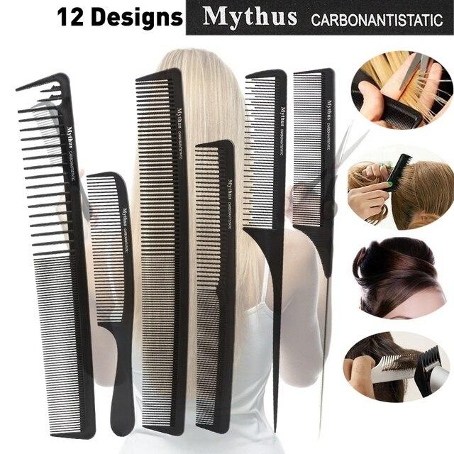Original Mythus 12 diseños de Peine de carbón de pelo negro antiestático peine de peluquería peine de maquillaje para la herramienta de estilismo del pelo