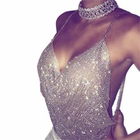 Women Sexy Top Shiny Rhinestones Crop Top Deep V Neck Summer Tank Top Beach Chic Sleeveles