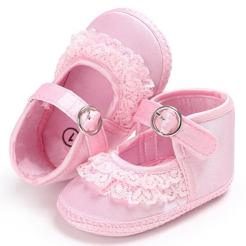 Baby Toddler First Walkers Piger Lace Cute Print Crib Sko Soft Sole Prewalker Anti-Slip Sko Til Baby Girl 3 Color
