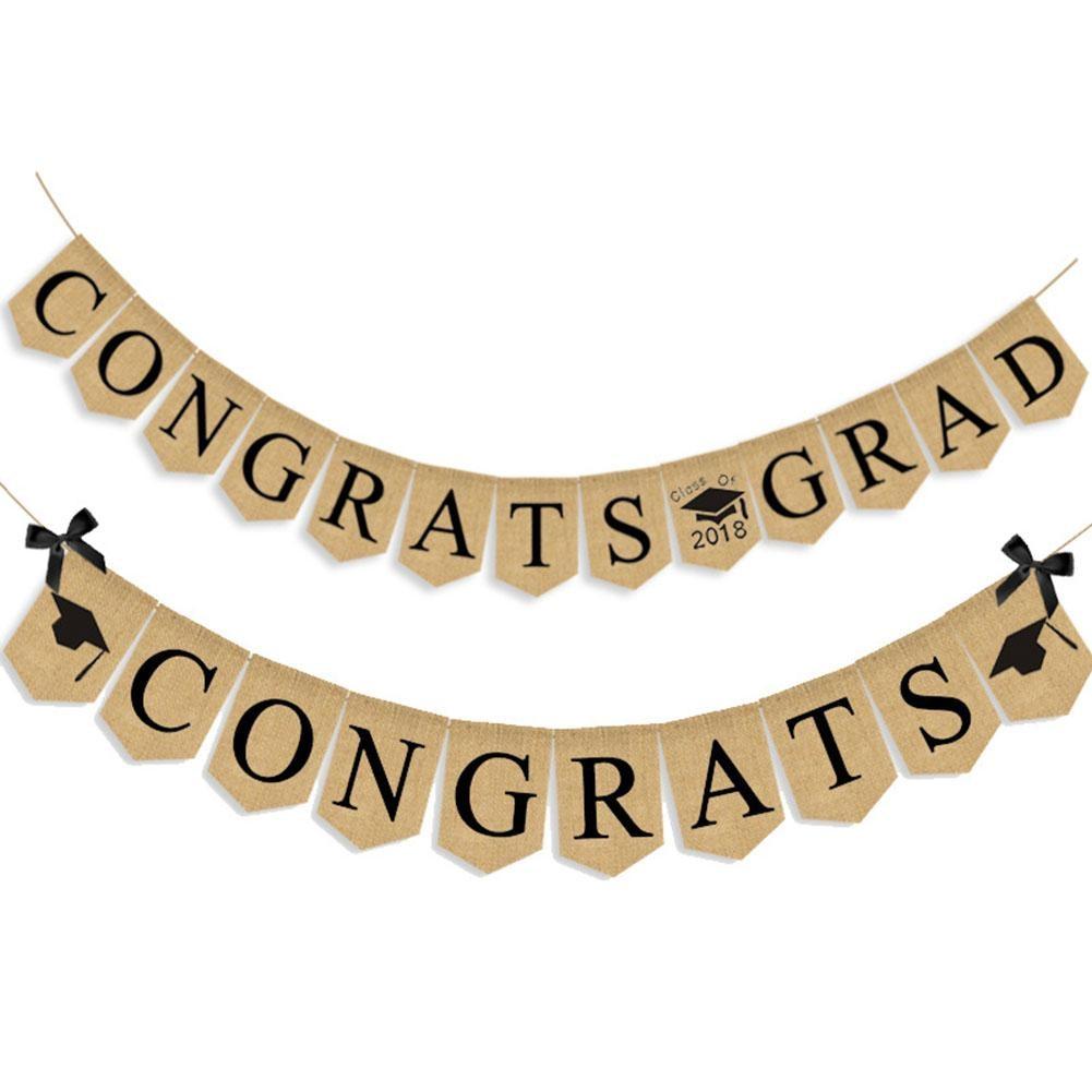 1pc 2018 Graduation Party Decoration Banner CONGRATS GRAD Garland ...