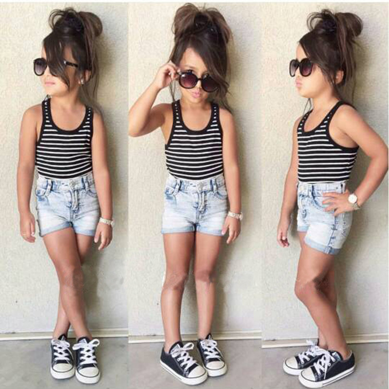 Kids Clothing Baby Girls Clothes Black White Striped Vest+Denim Shorts 2 pcs Baby Girls Clothing Set Summer Fashion Girl Costume new sexy vs045 1 6 black and white striped sweather stockings shoes clothing set for 12 female bodys dolls
