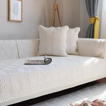 Cotton sofa cushion, four seasons fabric simple cushion, modern universal sofa back slip sofa cushion four seasons universal european luxury sofa cushion linen non slip cushion sofa cover