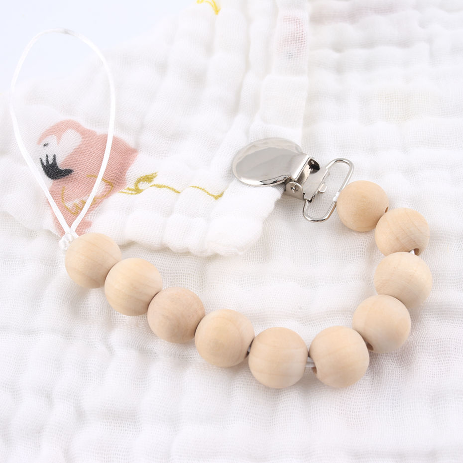 1PC Maple Wooden Pacifier Clip Chain For Baby Feeding Dummy Chain Binky Clip Rodent For Kid Goods Wooden Beads Pacifier Pendant