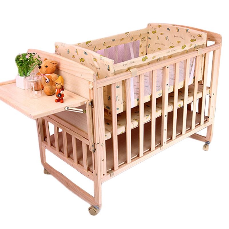 High Quality Pine Baby Crib Solid Wood No-paint Baby Crib BB Baby Bed Rocking Cradle Multi-functional Splicing Bed Cot Beddings corn husks cradle no paint wood frame cotton baby bassinet with mosquito net and mat steel frame baby cradle baby rocking crib