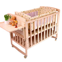 High Quality Pine Baby Crib Solid Wood No paint Baby Crib BB Baby Bed Rocking Cradle Multi functional Splicing Bed Cot Beddings