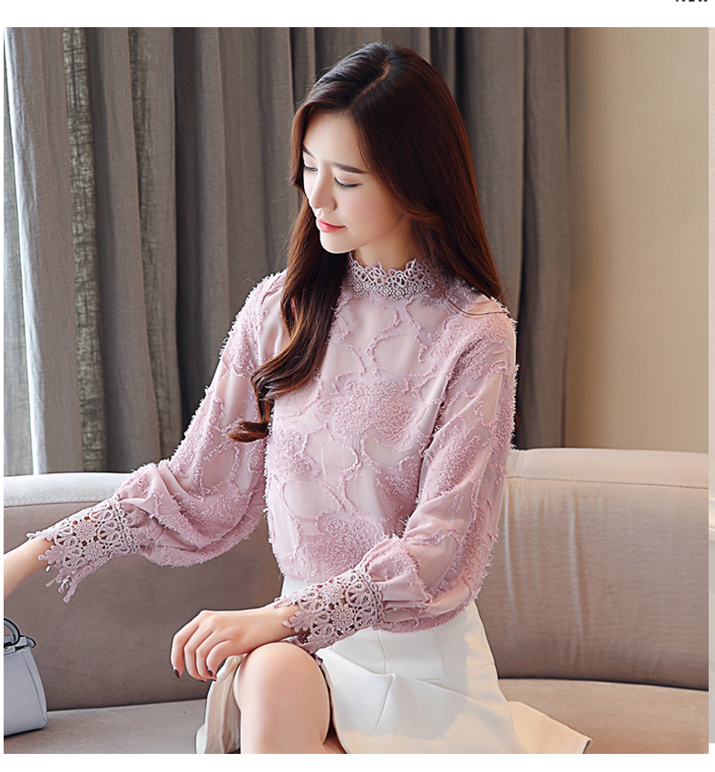 2018 woman silk blouse with lace top shirt