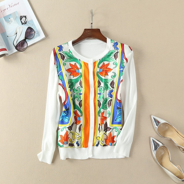2018 Spring Long Sleeve Front Silk Printed Women's Cardigan Knit Blouse 180124Z01