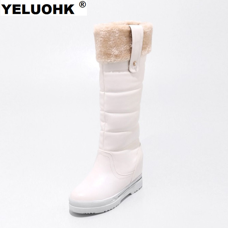 Waterproof Winter Boots Female Warm Women Snow Boots With Fur Plush Knee The Boots Women Winter Shoes Platform