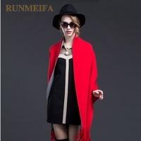 [RUNMEIFA] New Winter Autumn poncho Coat Women Cardigan Knitted Plus Size Cashmere Poncho Cardigan Women Sweater