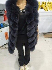 Image 3 - Doğal Gerçek Tilki Kürk Yelek Yeni Uzun Kalın Kadınlar için Hakiki Kürk Yelek Ceket Cepler Gerçek Kürk Yelek Palto Kadınlar ceket Uzunluğu 70cm