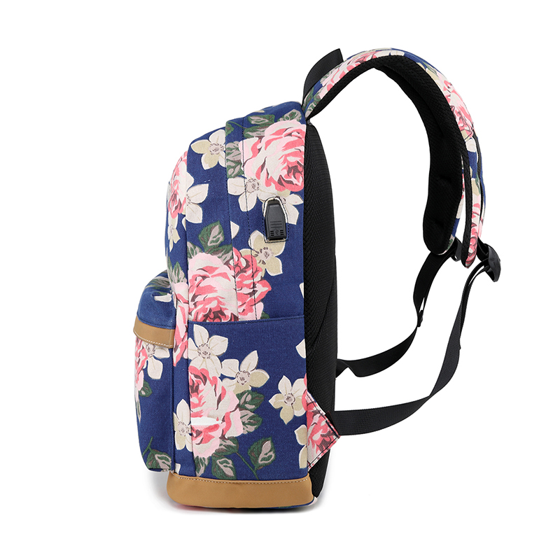 7d5f0b72fa Tourya Canvas Women Backpack Floral Printing USB charging School Bags For  Teenagers Girls Large Capacity Travel Laptop Bagpack-in Backpacks from  Luggage ...